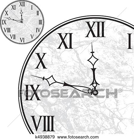 clip art of clock face with roman numerals k4938879 search clipart