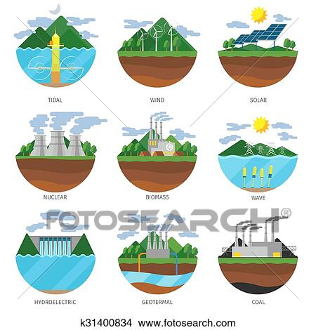 Generation Energy Types Power Plant Icons Vector Set