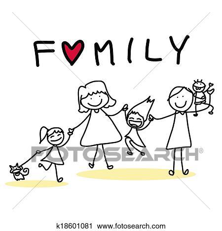 Clipart - main, dessin, dessin animé, famille heureuse. Fotosearch - Recherchez des Clip Arts, des Illustrations, des Dessins et des Images Vectorisées au Format EPS