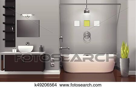 Moderno, realista, cuarto de baño, diseño de interiores ...