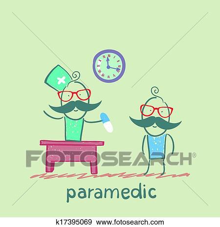 Paramédico, tableta, da, un, paciente Clip Art