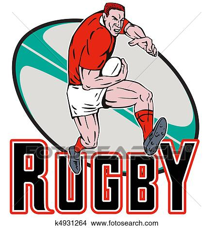 Rugby Player Running Fending Off Stock Illustration