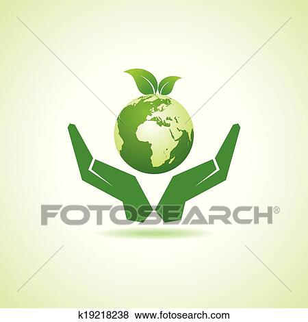 Clip Art Of Save Earth Or Go Green Concept K19218238 Search