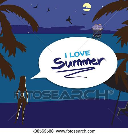 Summer Night Vacation Concept Background With Space For Text Vector Cartoon Flat Illustration Silhouette Of A Girl On The Beach Lights Of A Cruise Ship In The Distance In The Moonlight Clip