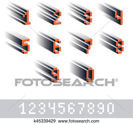 Vecteur Chiffres Chiffres Créé Dans 8 Morceau Style Pixel Art Nombres Ensemble 3d Mathématiques Conception Elements Clipart