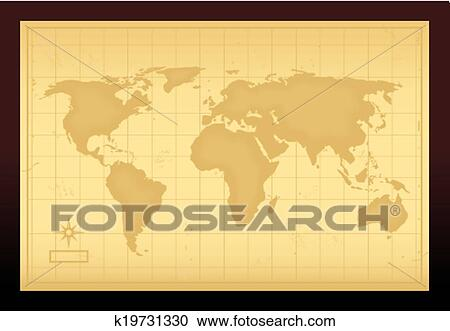 Clipart of vintage world map k19731330 search clip art old vintage world map vector illustration gumiabroncs Choice Image