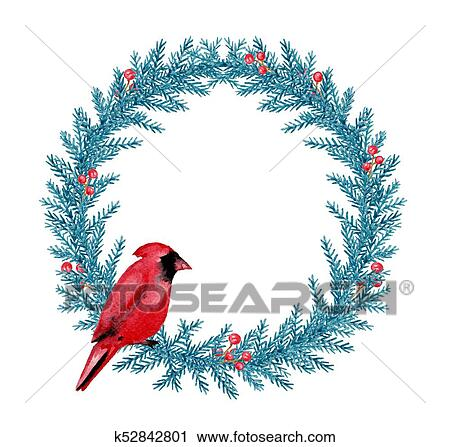 Clipart Of Watercolor Christmas Wreath With Cardinal K52842801