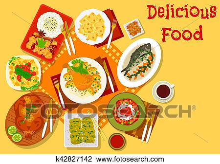 Clipart Of World Cuisine Popular Lunch Dishes Icon K42827142