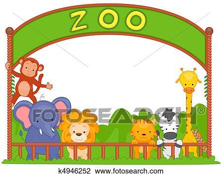 حديقة الحيوانات جماعة من الحيوان الرسم K4946252 Fotosearch
