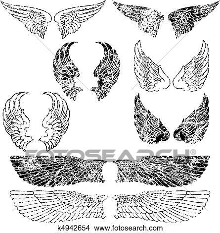 グランジ 天使翼 クリップアート切り張りイラスト絵画集