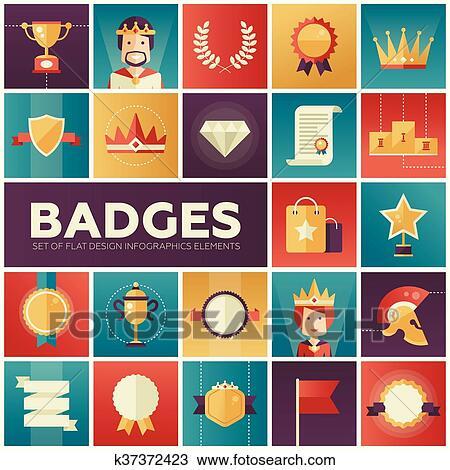 Badges, ribbons, awards icons set Clipart