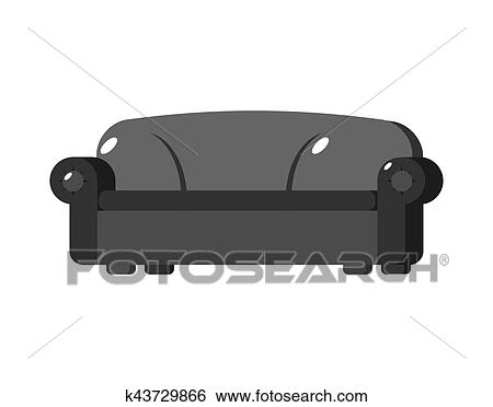 Clip Art Of Black Sofa Isolated Big Large Soft Couch On White