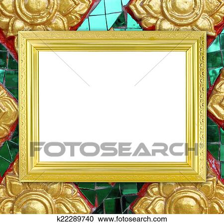 Stock Photography of blank golden frame on Thai style buddha wall ...
