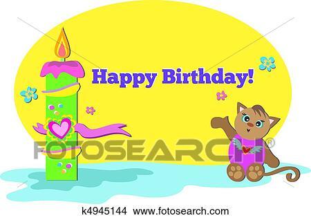 Clipart Gelukkige Verjaardag Kat Met Kaarsje K4945144 Zoek