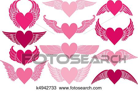 Hearts With Wings Clipart K4942733 Fotosearch