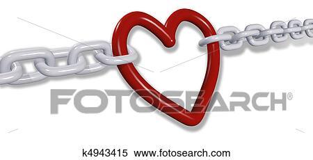 Liebe Kettenglieder Ziehen Romantische Valentine Herz Verbindungen Stock Illustration