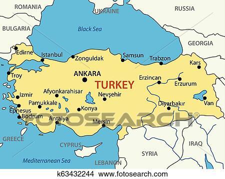 Republik Turkei Vektor Landkarte Clipart K63432244 Fotosearch