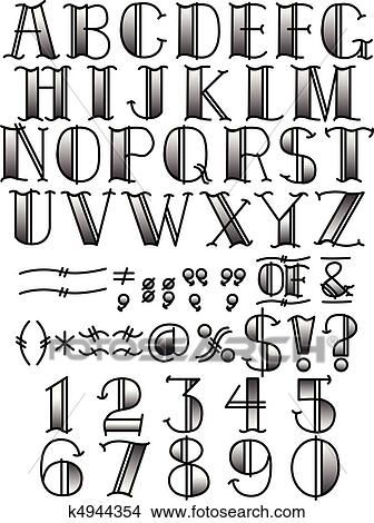 clipart of tattoo alphabet and symbols b w k4944354 search clip