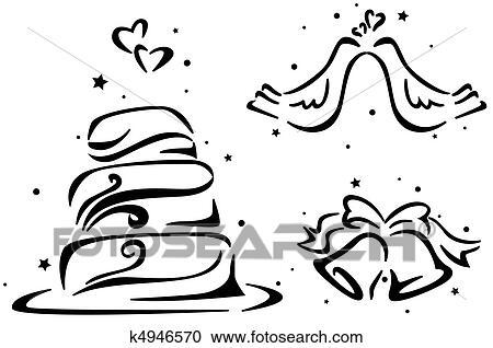 Wedding Bells Clipart.Wedding Stencil Clipart