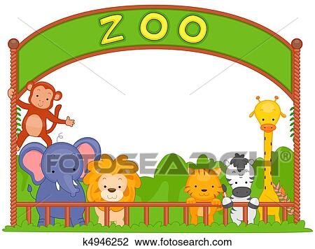 clip art of zoo animals k4946252 search clipart illustration rh fotosearch com clip art zoo animal silhouettes clip art zoo animals black and white