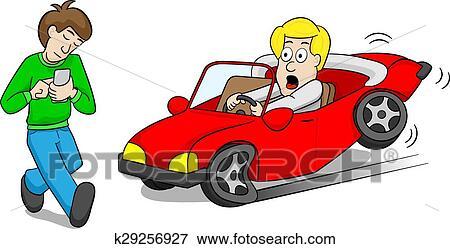 Clipart absentminded smartphone utilisateur causes accident voiture k29256927 recherchez - Accident de voiture dessin ...