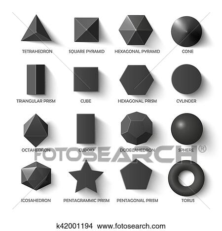 clipart of all basic 3d shapes template in dark k42001194 search