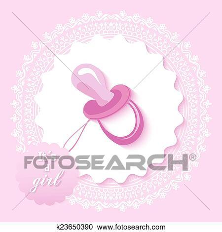Baby Shower Girl Invitation Card Design Clipart K23650390