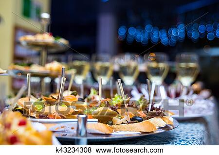 Pictures Of Buffet Table Canape Sandwiches Snacks Holiday Table - Catering table setting