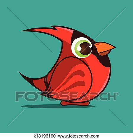 Clipart Of Cardinal Bird Cartoon K18196160 Search Clip Art