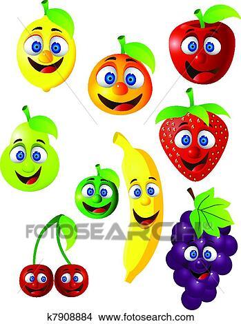 Clipart divertente frutta cartone animato carattere for Clipart frutta