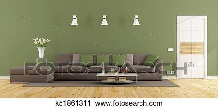 Grün, und, braun, wohnzimmer Clip Art | k51861311 | Fotosearch