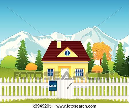 Clipart piccola casa su radura k39492051 cerca for Piccola casa su fondamenta
