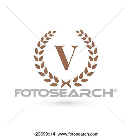 Clipart of Letter v laurel wreath logo icon design template elements ...