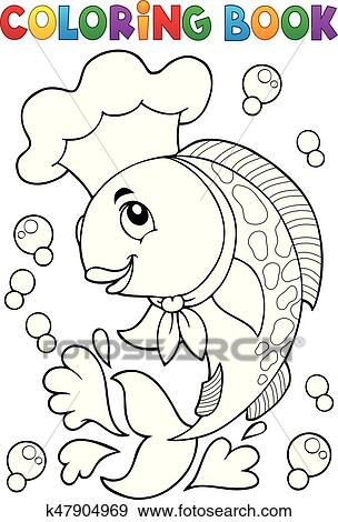 Clip Art - libro colorear, con, pez, chef k47904969 - Buscar Clip ...