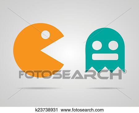 Clipart - pacman, fantasmas, 8bit, retro, color, juego, iconos, set ...