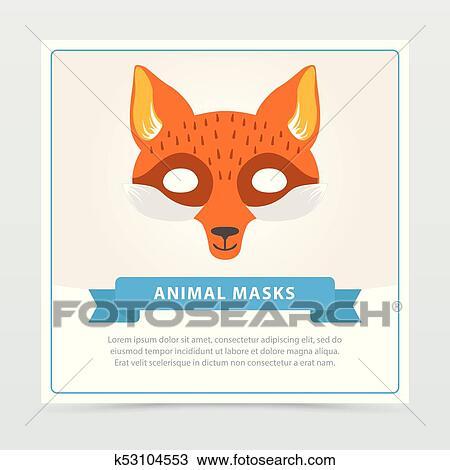 Raposa Role Play Máscara Para Crianças S Teatro Ou Aniversário Partido Cute Animal S Muzzle Apartamento Vetorial Desenho Para