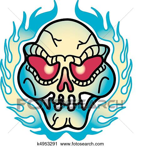 clipart of tattoo design skull flames clip art k4953291 search rh fotosearch com skull clipart collection skull clipart collection