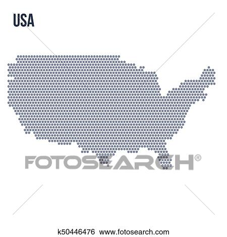 Vector hexagon map of the United States of America isolated on white  background Clip Art