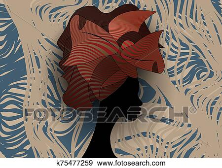 Head Wrap Stock Vector Illustration And Royalty Free Head Wrap Clipart |  African art, African paintings, Black women art