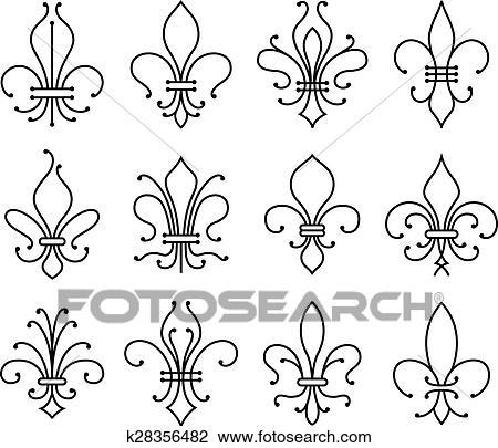 Clipart Of Fleur De Lys Symbols Set K28356482 Search Clip Art