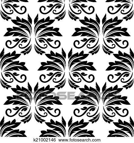 Clip Art - floral, seamless, arabesco, patrón k21002146 - Buscar ...
