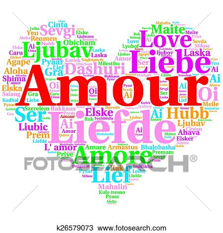 French: Amour  Heart shaped word cloud Love, on white Drawing