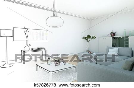Interior Design Living Room Drawing Gradation Into Photograph Stock  Illustration