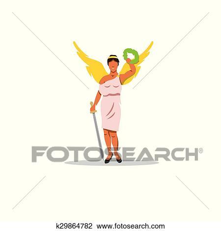 Nike Signe Les Mythologique Deesse Grecque De Victory Clipart K29864782 Fotosearch