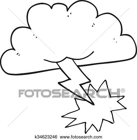 clipart noir blanc dessin anim nuage orage - Dessin De Nuage