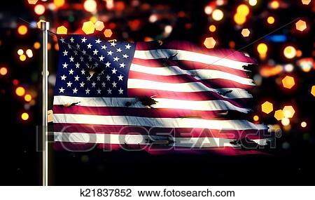 Clip Art Of Usa America National Flag Torn Burned War Freedom Night