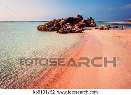 Beautiful Landscape Of Elafonissi Beach With Pink Sand On