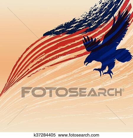 Clipart Of Eagle Silhouette With Usa Flag K37284405 Search Clip