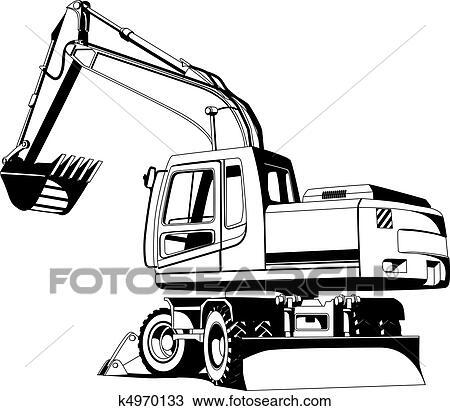 Clipart Of Excavator Outline K4970133