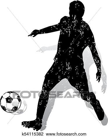 Fussballspieler Mit Kugel Marken A Bowle Ink Silhouette